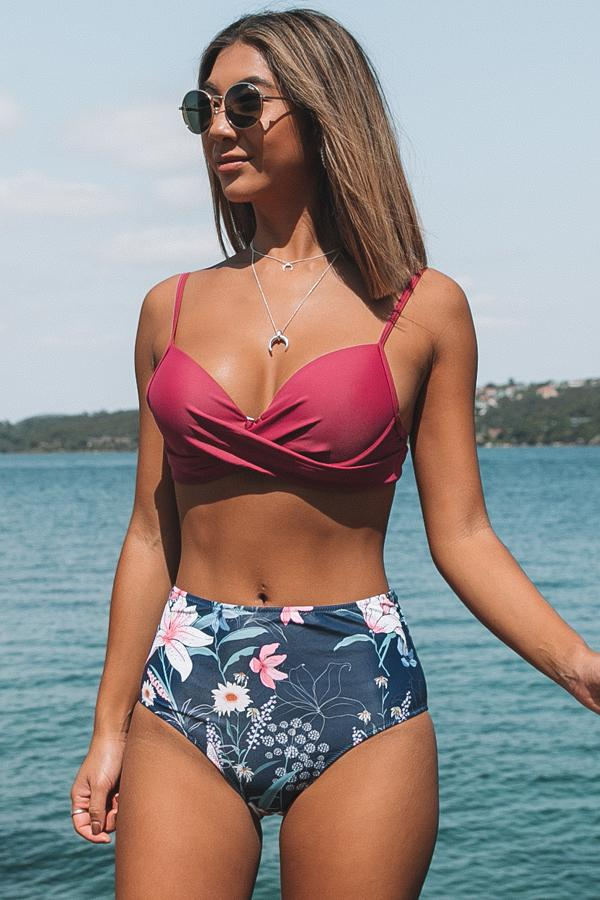 Twist Front High Wasit Flower Cow Print Bikini Set