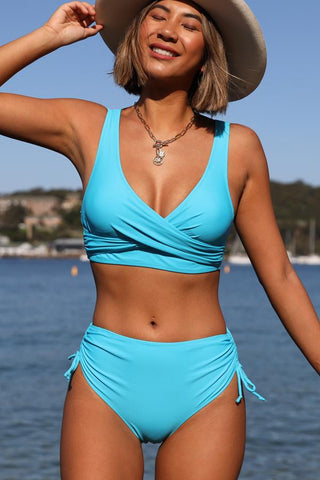 High Waist Criss Cross Drawstring Side Bikini Set