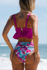 Purple Girl Flower Print Ruched Design Bikini Set