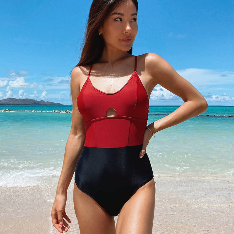 Color Block Cutout Front One Piece Swimwear