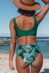 Leaf Print Twist Front High Waisted Bikini Set