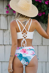 Flower Print Tie Back High Waisted Bikini Set