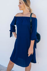 Solid Color Off The Shoulder Dress