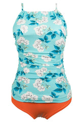 Sheinlove Blue Dream Flower Print Tankini Set