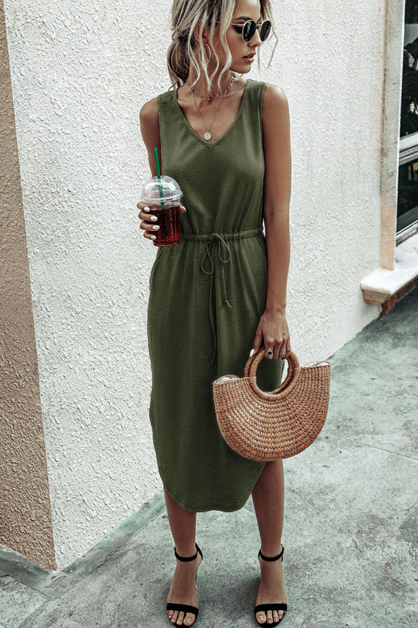 3 Colors Asymmetric Hem Drawstring Waist Midi Casual Dress