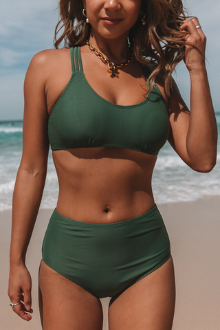 Strappy Back High Waist Army Green Bikini Set