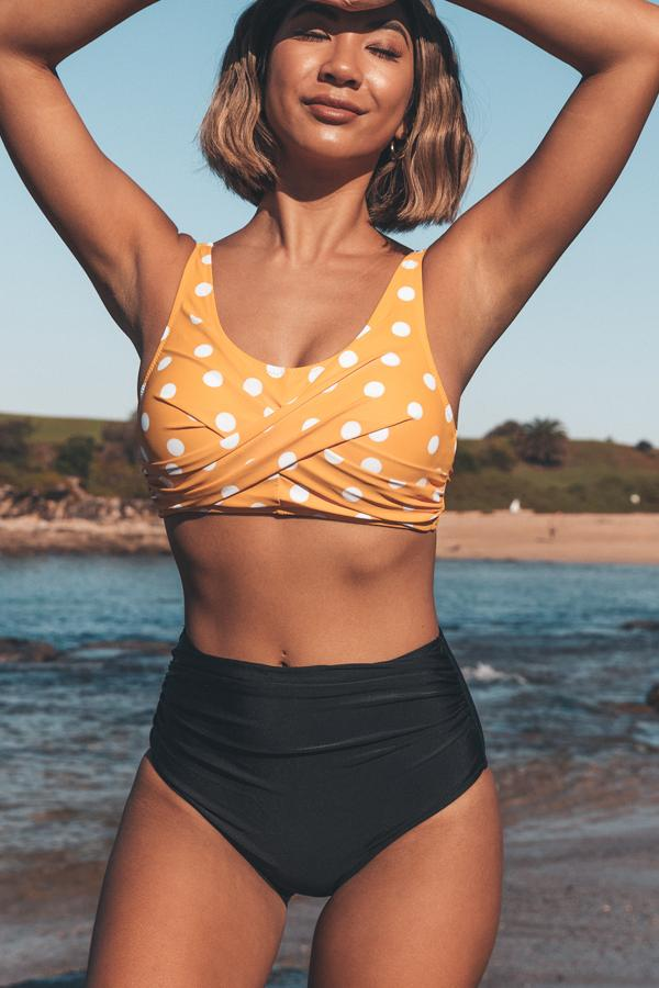 Polka Dot High Waist Twist Front Bikini Set