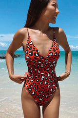 Leopard Print Twist Front One Piece Swimsuit
