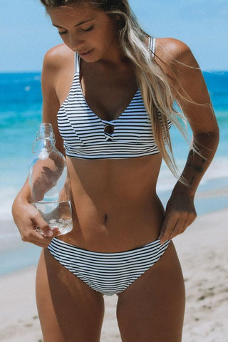 Sunshine Girl Stripe Print Bikini Set