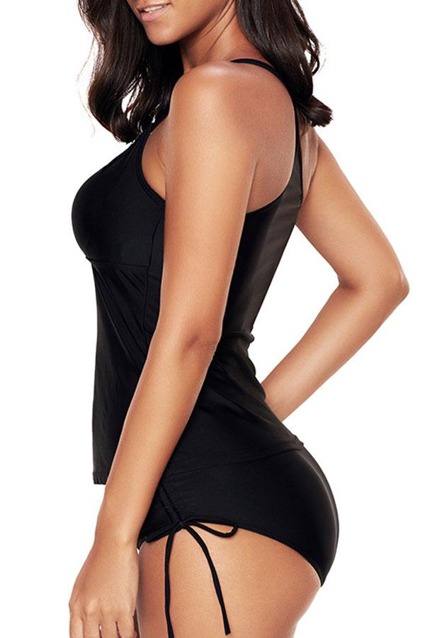 Drawstring Side Solid Black Tankini Set
