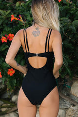 Stripe Print Colorblock Double Shoulder Strap One Piece Swimwear