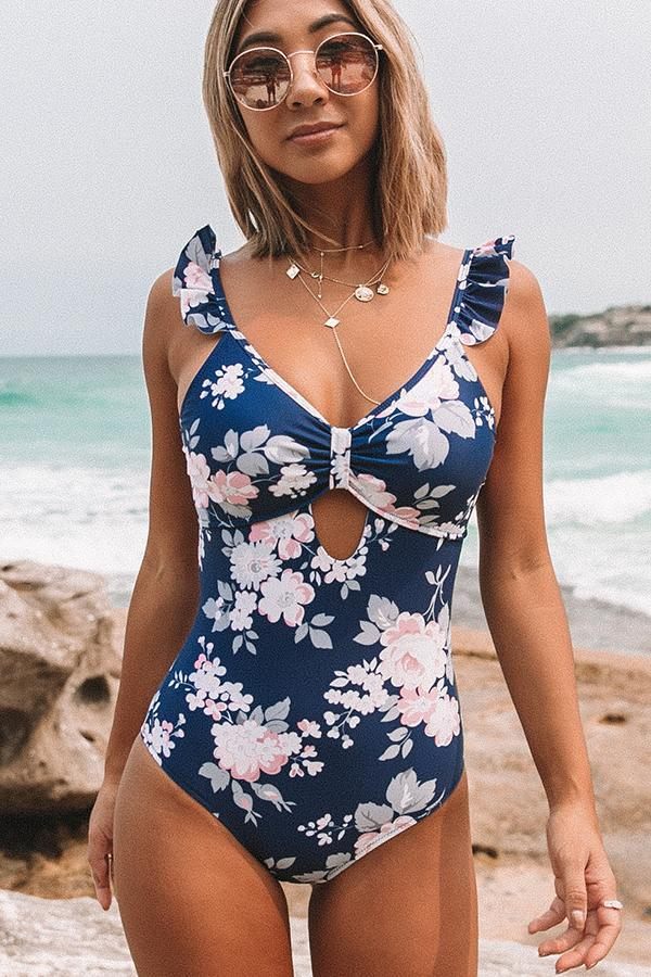 Flower Print Ruffle Shoulder Sexy One Piece Swimwear