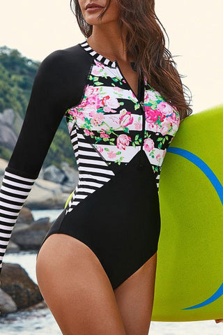 Flower & Stripe Print Patchwork Design Surfing Swimwear