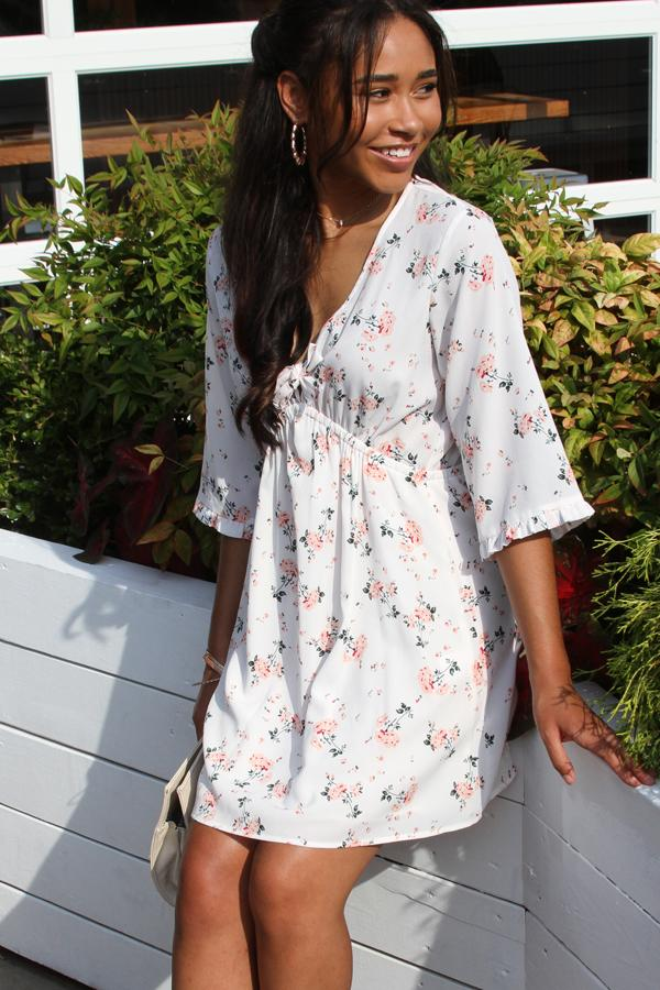 V Neck Knot Front Floral Print Mini Dress