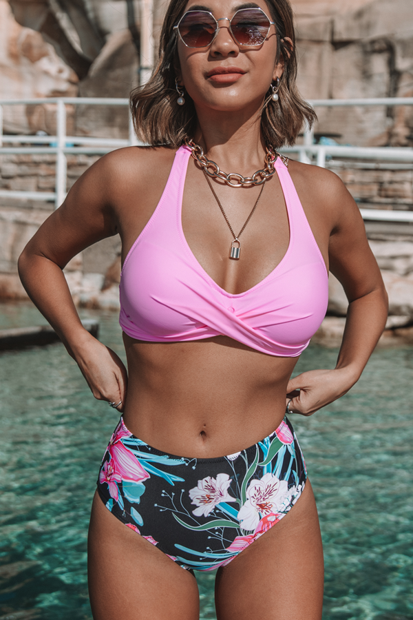 Flower Print Twist Front Bikini Set