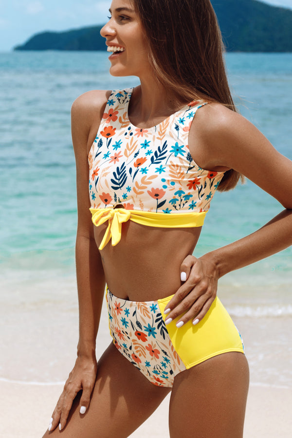 Floral Print Tie Front High Waisted Bikini Set