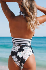 Deep V Neck Stripe Print One Piece Swimwear
