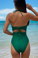 Bowknot Front Solid Color One Piece Swimwear
