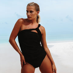 Black One Shoulder Tankini Set