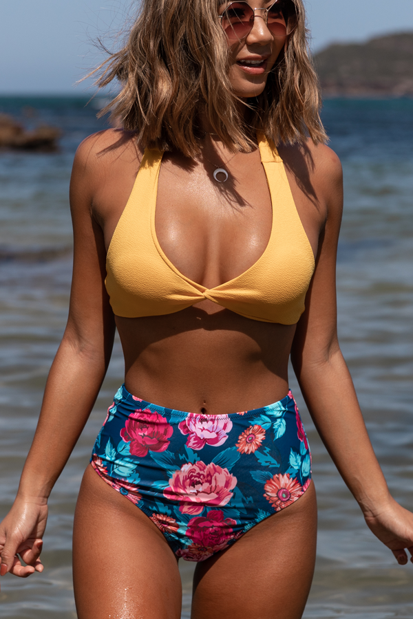 Halter Neck High Waist Flower Print Bikini Set