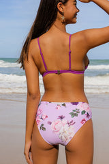 Scalloped Edge Flower Printed Bikini Set