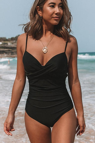 Solid Black Twist Front Ruched Design Sexy One Piece Swimwear