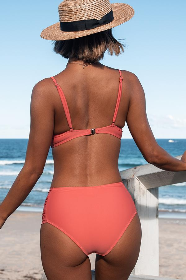 Solid Color Twist Front Ruched Side Bikini Set