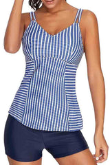 Stripe Print Cutout Strap High Waisted Tankini Set