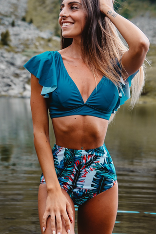 Leaf Print Ruffle Sleeve High Waist Bikini Set