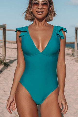 Solid Color Ruffle Shoulder One Piece Swimwear
