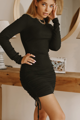 Round Neck Long Sleeve Ruched Black Mini Dress