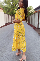 Tie Front Flower Print Maxi Dress