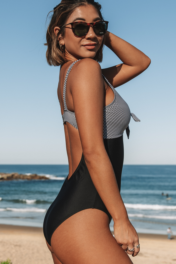 Stripe Print Tie Front One Piece Swimsuits