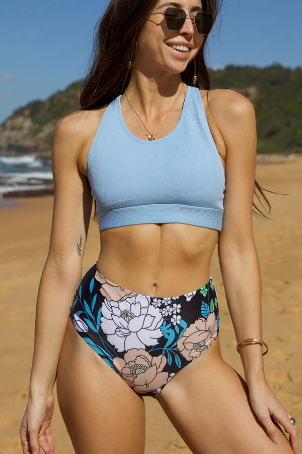 Flower Print High Waist Bikini Set