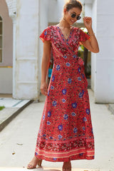 Floral Print Tie Side Maxi Dress