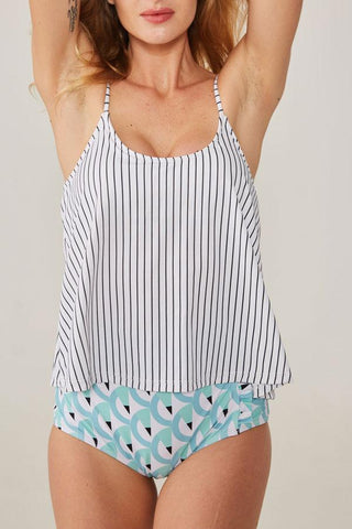 Stripe Print High Waist Tankini