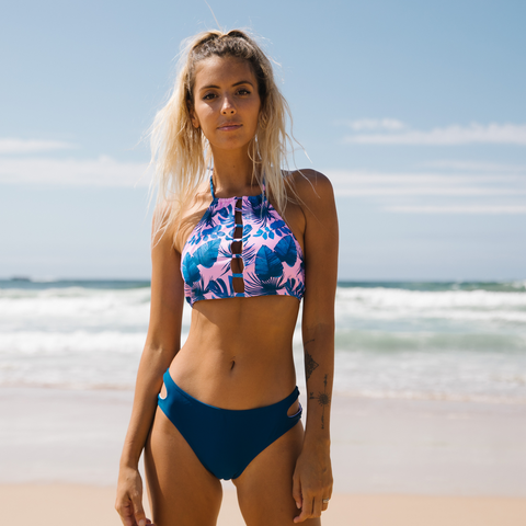 Leaf Print Ladder Cutout Bikini Set