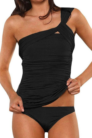 Sheinlove Black One Shoulder Tankini Set