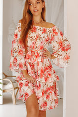 Flower Print Multi-layer Ruffle Hem Cute Dress