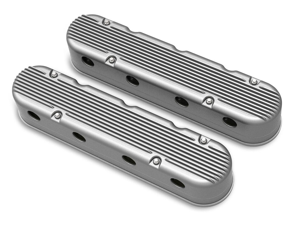 Holley 2 Piece Finned LS Valve Covers - Hidden Coils