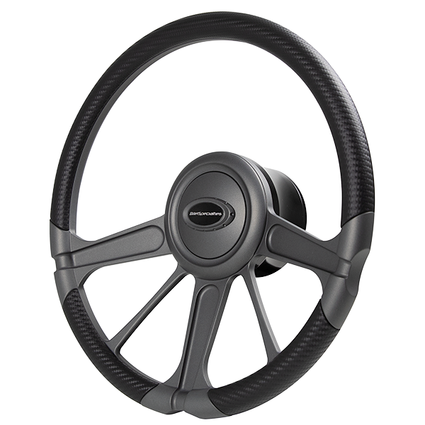 Invader Steering Wheel - Matte Gunmetal with CARBON vinyl grip