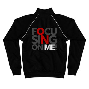 Focusing On Me Designz - Red Printed On Back - Piped Fleece Jacket