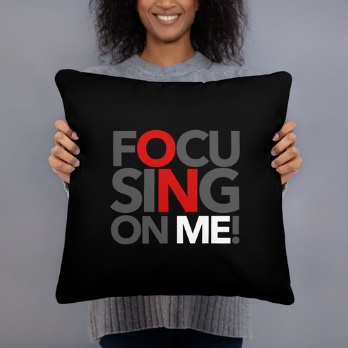 Focusing On Me Designz - Red Black and White Basic Pillow