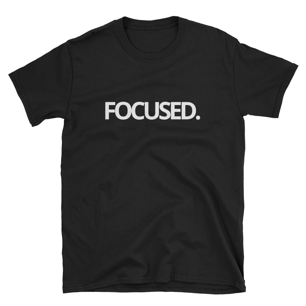 FOCUSED WHITE TYPE Tee (Black or Navy)