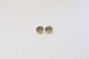 Patterned Disc Silver Ear Studs