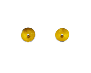 Concave Disc Ear Studs - yellow