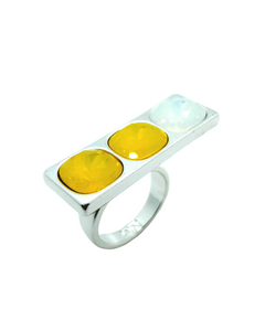 Geo 3 Stone Ring - Silver Yellow