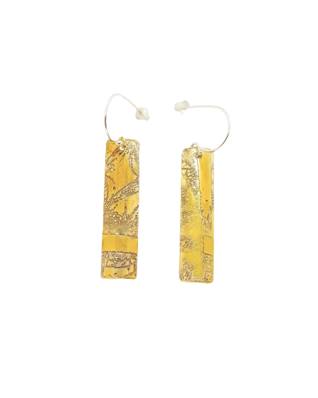 Fractal Earring - Long - Gold on Silver