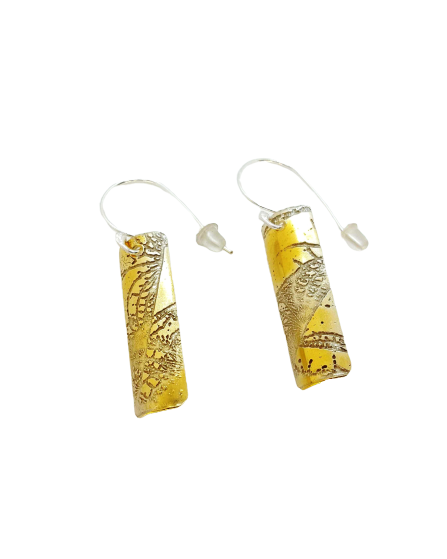 Fractal Earring - Medium - Gold on Silver