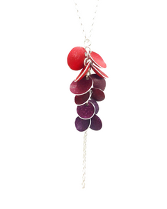 Concave Pendant - 12 Discs on Chain - red/burgundy/berry